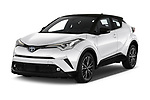 2018 Toyota C-HR C-ULT 5 Door SUV angular front stock photos of front three quarter view