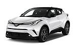 2018 Toyota C-HR C-ULT 5 Door SUV angular front stock photos of front three quarter view
