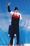 Sochi, Russia, 09/03/2014. Canadian Biathlete Mark Arendz celebrates his Silver medal win in the 7.5km standing event at the Sochi 2014 Paralympic Winter Games in Sochi Russia. (Photo Scott Grant/Canadian Paralympic Committee)