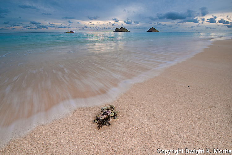 """Incoming tide at dawn on Lanikai Beach with the Mokulua Islands in the background. This photo was used in the June 2009 issue of Coastal Living Magazine in an opening spread on the best """"Secret Beaches"""""""