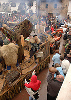 ZUBIETA, NAVARRE - JANUARY 31: People during the celebration of an ancient traditional carnival in Zubieta village on January 31, 2006. Photo by Ander Gillenea