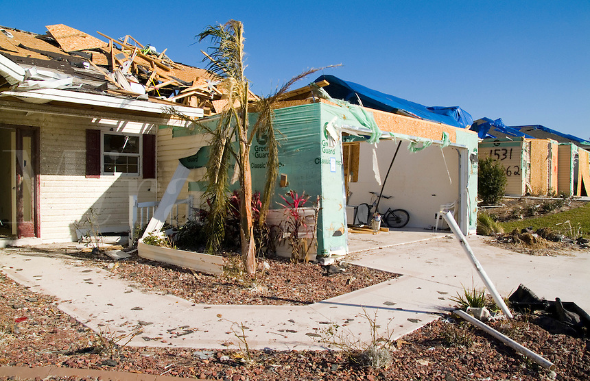 Tornado damage to homes in Lady Lake, Florida