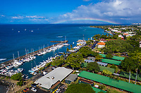 An aerial view of Maui's Lahaina Harbor with a rainbow on the right.
