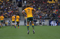 Wallabies captain Michael Hooper limbers up before kickoff during the Bledisloe Cup rugby union match between the New Zealand All Blacks and Australia Wallabies at Sky Stadium in Wellington, New Zealand on Sunday, 11 October 2020. Photo: Dave Lintott / lintottphoto.co.nz