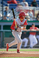 Williamsport Crosscutters Bryson Stott (15) at bat during a NY-Penn League game against the Batavia Muckdogs on August 25, 2019 at Dwyer Stadium in Batavia, New York.  Williamsport defeated Batavia 10-3.  (Mike Janes/Four Seam Images)