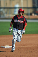 Batavia Muckdogs first baseman Erwin Almonte (25) running the bases after a home run during a game against the Auburn Doubledays on September 7, 2015 at Falcon Park in Auburn, New York.  Auburn defeated Batavia 11-10 in ten innings.  (Mike Janes/Four Seam Images)