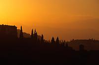 Italien, Toskana, bei Florenz, Sonnenuntergang auf den Hügeln