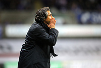ATTENTION SPORTS PICTURE DESK<br /> Pictured: Paulo Sousa Manager of Swansea City in action <br /> Re: Coca Cola Championship, Swansea City Football Club v Leicester City at the Liberty Stadium, Swansea, south Wales. Saturday 16 January 2010
