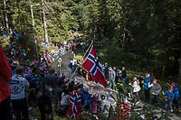 Arsalan Anjum Muhammad (PAK) up the final section of Mount Fløyen<br /> <br /> Men Elite Individual Time Trial<br /> <br /> UCI 2017 Road World Championships - Bergen/Norway