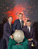"""Johnson Space Center, USA -   04/29/1970 - file photo -<br /> <br /> he actual Apollo 13 lunar landing mission prime crew from left to right are: Commander, James A. Lovell Jr., Command Module pilot, John L. Swigert Jr.and Lunar Module pilot, Fred W. Haise Jr. The original Command Module pilot for this mission was Thomas """"Ken"""" Mattingly Jr. but due to exposure to German measles he was replaced by his backup, Command Module pilot, John L. """"Jack"""" Swigert Jr."""