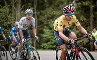 yellow jersey / GC leader Richie Porte (AUS/Ineos Grenadiers) up the Col de Joux Plane (HC/1691m/11.6 km@8.5 %)<br /> <br /> 73rd Critérium du Dauphiné 2021 (2.UWT)<br /> Stage 8 (Final) from La Léchère-Les-Bains to Les Gets (147km)<br /> <br /> ©kramon
