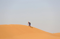 4th October 2021; Tisserdimine to Kourci Dial Zaid;  Marathon des Sables, stage 2 of  a six-day, 251 km ultramarathon, which is approximately the distance of six regular marathons. The longest single stage is 91 km long. This multiday race is held every year in southern Morocco, in the Sahara Desert. A lone runner in the dunes