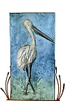 Title: African Stork<br /> Materials: Repousse, Bah Relief, Copper and Steel<br /> Size: 55Tx30x4<br /> Price: Available on Request