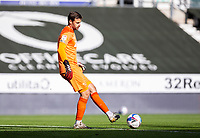 12th September 2020; Pride Park, Derby, East Midlands; English Championship Football, Derby County versus Reading; Derby County Goalkeeper David Marshall passing the ball out of his goal area during the match