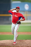 Philadelphia Phillies Ranfi Casimiro (66) during a minor league Spring Training game against the Toronto Blue Jays on March 26, 2016 at Englebert Complex in Dunedin, Florida.  (Mike Janes/Four Seam Images)
