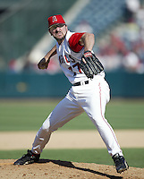Ben Weber of the Los Angeles Angels pitches during a 2002 MLB season game at Angel Stadium, in Anaheim, California. (Larry Goren/Four Seam Images)
