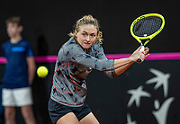 The Hague, The Netherlands, Februari 8, 2020,    Sportcampus, FedCup  Netherlands -  Balarus, Seccond match on Saturday:  Aliaksandra Sasnovich (BLR) <br /> Photo: Tennisimages/Henk Koster