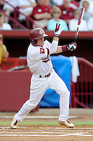 Shortstop Marcus Mooney (8) of the South Carolina Gamecocks in an NCAA Division I Baseball Regional Tournament game against the Campbell Camels on Friday, May 30, 2014, at Carolina Stadium in Columbia, South Carolina. South Carolina won, 5-2. (Tom Priddy/Four Seam Images)
