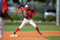 Cesar De la cruz (4) during the Dominican Prospect League Elite Florida Event at Pompano Beach Baseball Park on October 14, 2019 in Pompano beach, Florida.  (Mike Janes/Four Seam Images)