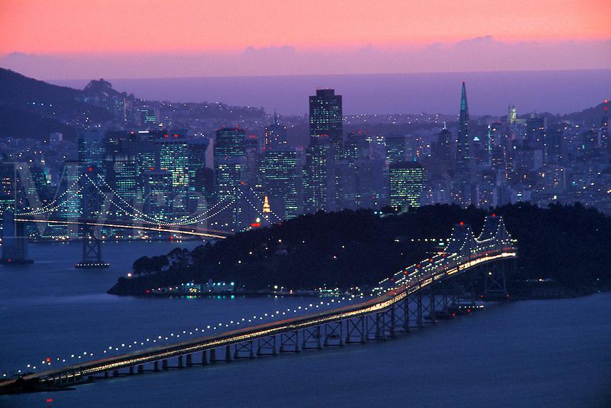 Evening light over San Francisco, as seen from the Berkeley Hills, California.