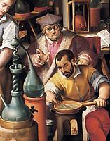 The Alchemist's Workshop, 1570 (oil on slate), Straet, Jan van der (Joannes Stradanus) (1523-1605) / Palazzo Vecchio (Palazzo della Signoria) Florence, Italy