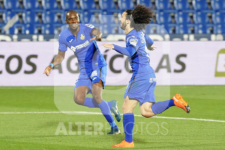 Getafe CF's Allan Nyom (l) and Marc Cucurella celebrate goal during La Liga match. September 29,2020. (ALTERPHOTOS/Acero)