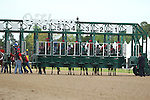 April 10, 2015: Starting gate of the Apple Blossom Handicap at Oaklawn Park in Hot Springs, AR. Justin Manning/ESW/CSM