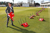 The players' chairs blow over in the wind ahead of the press call - Essex County Cricket Club Press Day at the Essex County Ground, Chelmsford, Essex - 02/04/13 - MANDATORY CREDIT: Gavin Ellis/TGSPHOTO - Self billing applies where appropriate - 0845 094 6026 - contact@tgsphoto.co.uk - NO UNPAID USE.