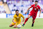 Massimo Luongo of Australia (L) falls as he battles for the ball with Anas Bani-Yaseen of Jordan (R) during the AFC Asian Cup UAE 2019 Group B match between Australia (AUS) and Jordan (JOR) at Hazza Bin Zayed Stadium on 06 January 2019 in Al Ain, United Arab Emirates. Photo by Marcio Rodrigo Machado / Power Sport Images