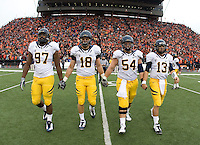 California captains' Cameron Jordan, Mike Mohamed, Chris Guarnero, and Kevin Riley walk on the field for coin toss before the game against Oregon State at Reser Stadium in Corvallis, Oregon on October 30th, 2010.   Oregon State defeated California, 35-7.