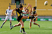 Thamsyn Newton of the Wellington clears the ball during the Farah Palmer Cup Rugby – Wellington v Manawatu at Sky Stadium, Wellington, New Zealand on Friday 25 September 2020. <br /> Photo by Masanori Udagawa. <br /> www.photowellington.photoshelter.com