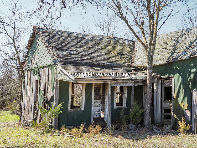 An abandoned house sits in rural Missouri.