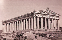 Greece: Athens--Parthenon, Reconstruction. Engraving from Athens Guidebook. Ref. only.