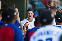 Surprise Saguaros second baseman Andy Young (29), of the St. Louis Cardinals organization, is congratulated by his teammates in the dugout after scoring a run during an Arizona Fall League game against the Peoria Javelinas at Surprise Stadium on October 17, 2018 in Surprise, Arizona. (Zachary Lucy/Four Seam Images)