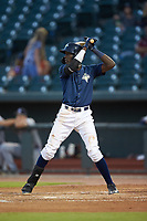 Ronny Mauricio (2) of the Columbia Fireflies at bat against the Rome Braves at Segra Park on May 13, 2019 in Columbia, South Carolina. The Fireflies defeated the Braves 6-1 in game two of a doubleheader. (Brian Westerholt/Four Seam Images)