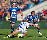 3rd October 2021; AJ Bell stadium, Eccles, Greater Manchester, England: Gallagher Premiership Rugby, Sale v Exeter ;  Marland Yarde of Sale Sharks trying to avoid the tackle of  Henry Slade of Exeter Chiefs