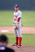 Auburn Doubledays pitcher Chase McDowell (25) during a game against the Batavia Muckdogs on August 31, 2014 at Dwyer Stadium in Batavia, New York.  Batavia defeated Auburn 7-6.  (Mike Janes/Four Seam Images)