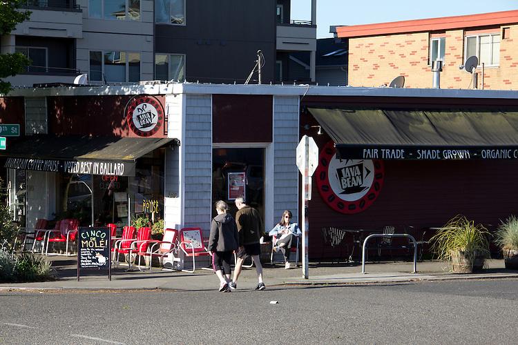 Seattle, Ballard, Java Bean coffee shop, morning street scene, 24th NW, spring,