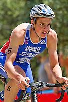27 MAY 2012 - MADRID, ESP - Jonathan Brownlee (GBR) of Great Britain on the bike during the elite men's 2012 World Triathlon Series round in Casa de Campo, Madrid, Spain .(PHOTO (C) 2012 NIGEL FARROW)