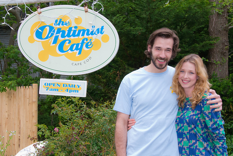 Optimist Cafe, Yarmouthport, MA, Cape Cod John Behlmann, Lucy Walters, on location for feature  film Lies I Told My Little Sister