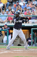 Shortstop Didi Gregorius (18) of the New York Yankees bats in a Spring Training game against the Atlanta Braves on Wednesday, March 18, 2015, at Champion Stadium at the ESPN Wide World of Sports Complex in Lake Buena Vista, Florida. The Yankees won, 12-5. (Tom Priddy/Four Seam Images)