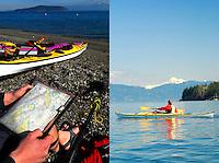 San Juan Islands sea kayaking with Mount Baker in background. WA.