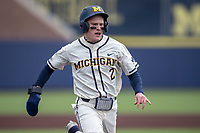 Michigan Wolverines shortstop Jack Blomgren (2) crosses homeplate against the Indiana State Sycamores on April 10, 2019 in the NCAA baseball game at Ray Fisher Stadium in Ann Arbor, Michigan. Michigan defeated Indiana State 6-4. (Andrew Woolley/Four Seam Images)