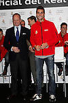 Real Madrid player Alvaro Arbeloa participates and receives new Audi during the presentation of Real Madrid's new cars made by Audi at the Jarama racetrack on November 8, 2012 in Madrid, Spain.(ALTERPHOTOS/Harry S. Stamper)