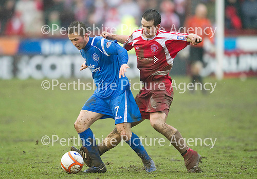 Brechin v St Johnstone....12.03.11  Scottish Cup Quarter Final.Chris Millar and Craig Molloy.Picture by Graeme Hart..Copyright Perthshire Picture Agency.Tel: 01738 623350  Mobile: 07990 594431