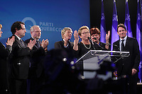 April 7, 2014 - Pauline Marois, Parti Quebecois leader and Premier of Quebec at the  Montreal PQ  gathering on election night. After accepting defeat to Liberal leader Philippe Couillard, she annouced she is stepping down as Parti Quebecois leader.<br /> <br /> Onstage with her where her husband Claude Blanchette, Bernard Drainville, Jean-Francois Lisee and Pierre-karl peladeau,<br /> <br /> Photo : Pierre Roussel
