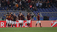 Calcio, Champions League, Gruppo E: Roma vs Bayer Leverkusen. Roma, stadio Olimpico, 4 novembre 2015.<br /> Roma's Edin Dzeko, third from left, celebrates with teammates after scoring during a Champions League, Group E football match between Roma and Bayer Leverkusen, at Rome's Olympic stadium, 4 November 2015.<br /> UPDATE IMAGES PRESS/Isabella Bonotto