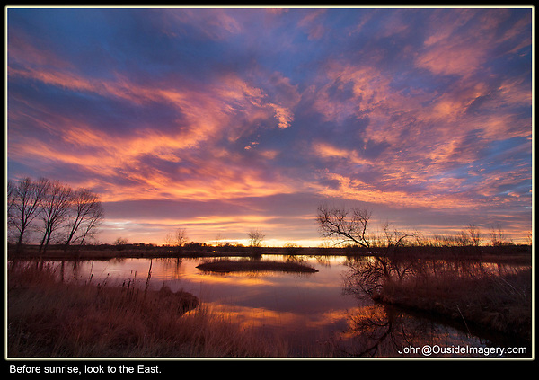 At sunrise and sunset, the color is usually where the clouds are, not necessarily where you want it to be. Photographing over a reflective water surface produces great color.