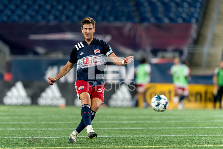 FOXBOROUGH, MA - SEPTEMBER 09: Collin Verfurth #35 of New England Revolution II passes the ball during a game between Chattanooga Red Wolves SC and New England Revolution II at Gillette Stadium on September 09, 2020 in Foxborough, Massachusetts.