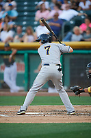 Austin Dean (7) of the New Orleans Baby Cakes bats against the Salt Lake Bees at Smith's Ballpark on June 8, 2018 in Salt Lake City, Utah. Salt Lake defeated New Orleans 4-0.  (Stephen Smith/Four Seam Images)
